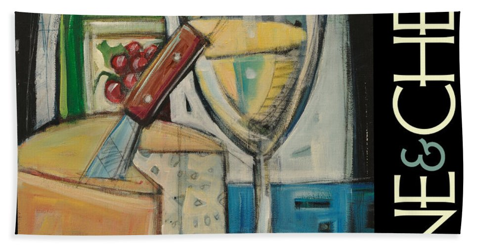 Beverage Bath Sheet featuring the painting White Wine And Cheese Poster by Tim Nyberg