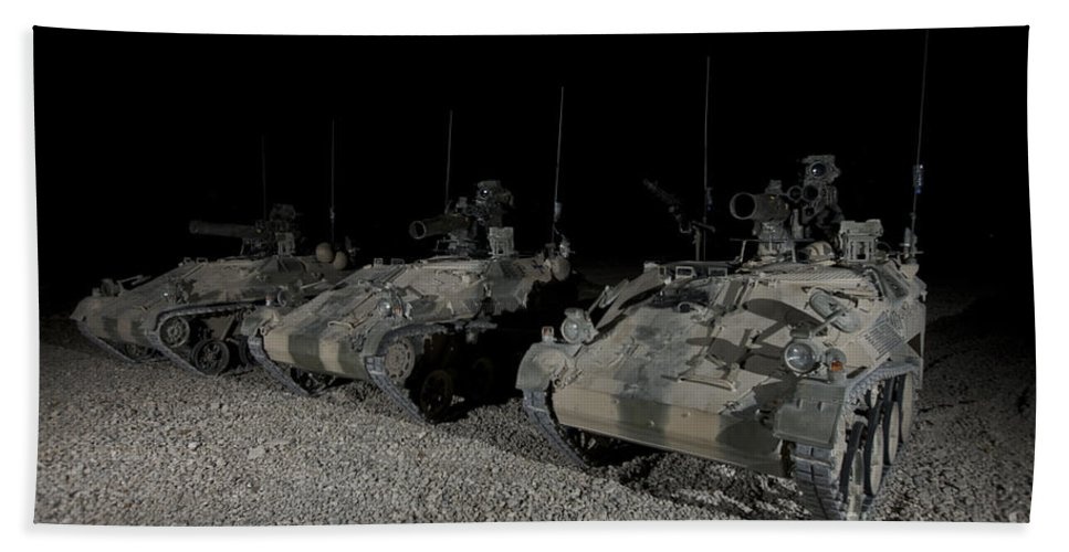 Operation Enduring Freedom Hand Towel featuring the photograph Wiesel 1 Atm Tow Anti-tank Vehicles by Terry Moore