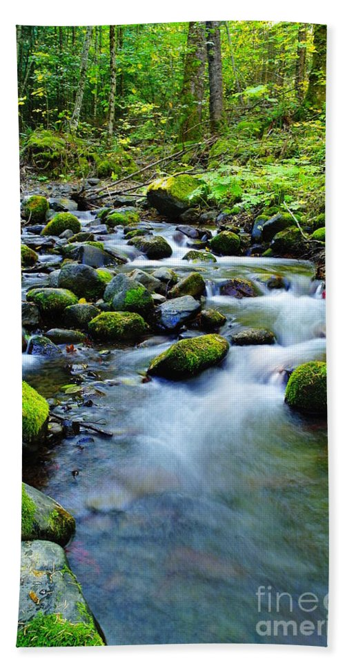 Water Bath Sheet featuring the photograph Winding Through The Rocks by Jeff Swan
