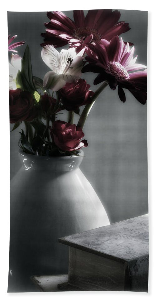 Digitally Hand Colored Hand Towel featuring the photograph Red Floral Still Life by Linda Dunn