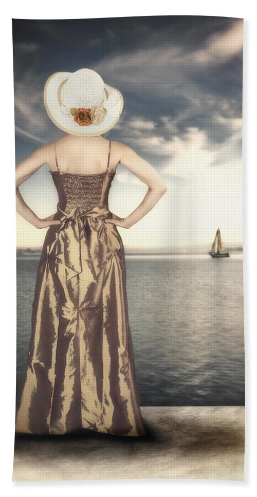 Female Bath Sheet featuring the photograph Woman At The Lake by Joana Kruse