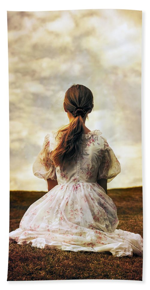 Female Hand Towel featuring the photograph Woman On A Meadow by Joana Kruse