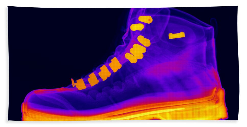 X-ray Hand Towel featuring the photograph X-ray Of A Hiking Boot by Ted Kinsman