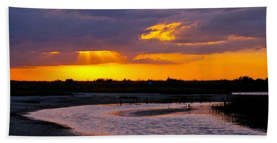 Sunset Hand Towel featuring the photograph Luminous Lavenders by Stephen Whalen