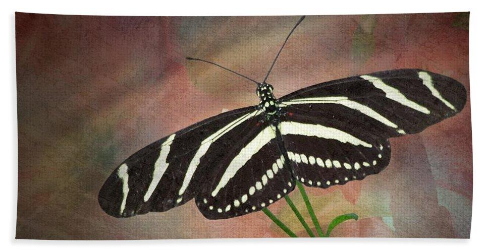 Zebra Bath Sheet featuring the photograph Zebra Longwing Butterfly-2 by Rudy Umans