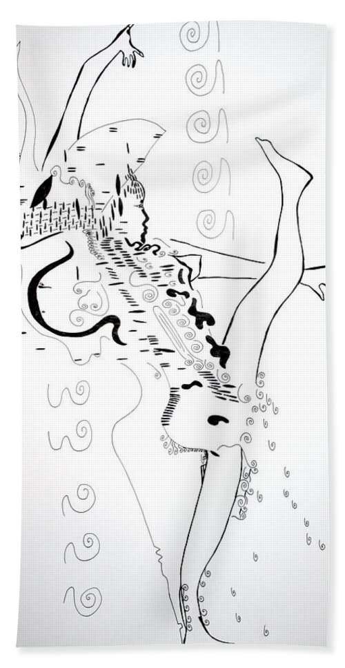 Jesus Bath Sheet featuring the drawing Zulu Dance - South Africa by Gloria Ssali