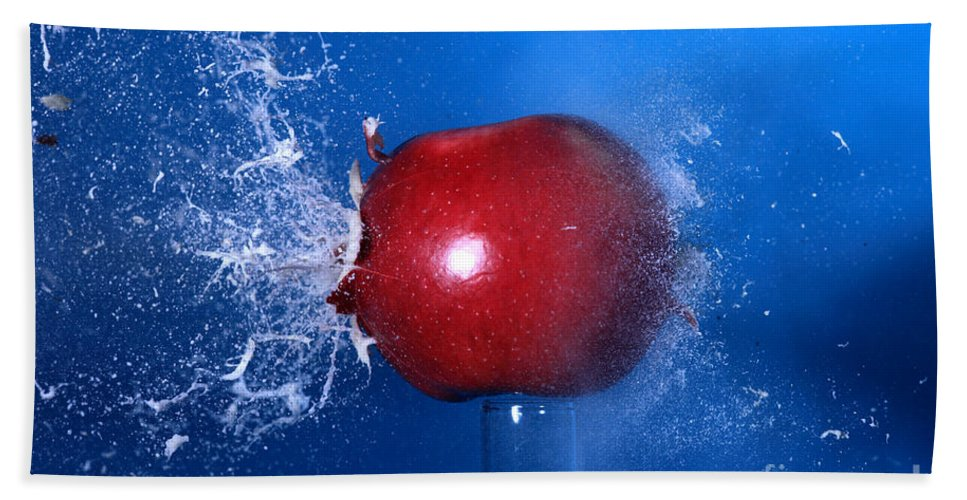 Science Hand Towel featuring the Bullet Hitting An Apple by Ted Kinsman
