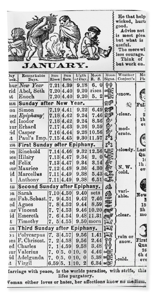 1874 Hand Towel featuring the photograph Family Almanac, 1874 by Granger