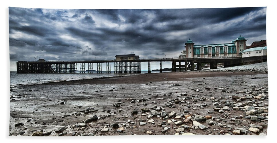 Penarth Pier Hand Towel featuring the photograph Penarth Pier by Steve Purnell