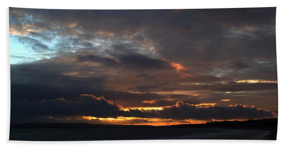 Sunset Hand Towel featuring the photograph Bournemouth Sunset by Chris Day