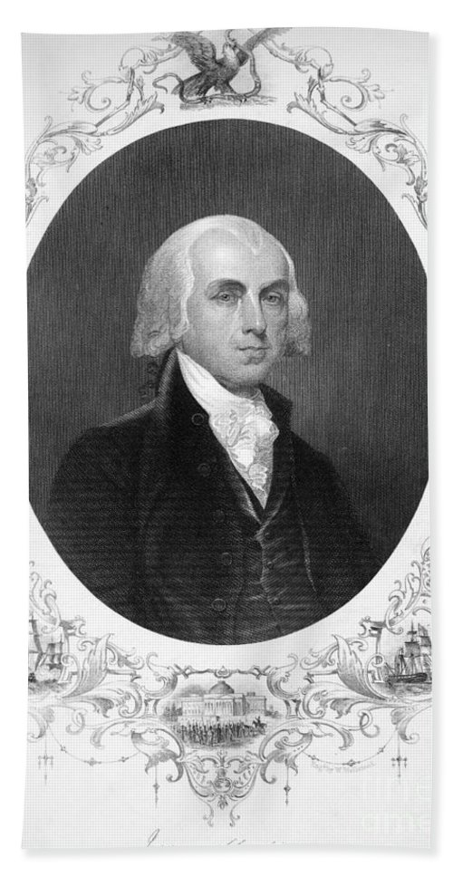 18th Century Bath Sheet featuring the photograph James Madison (1751-1836) by Granger