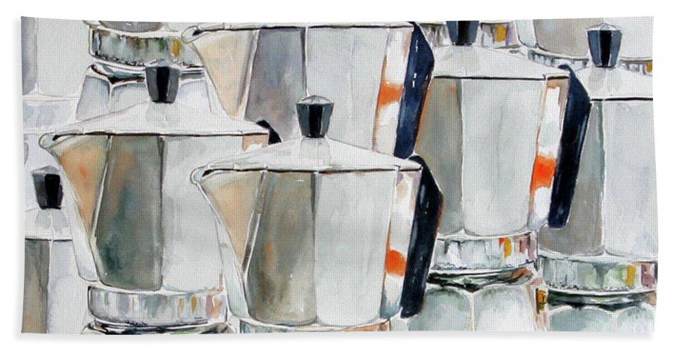 Still Life Bath Sheet featuring the painting 11 Moka by Giovanni Marco Sassu