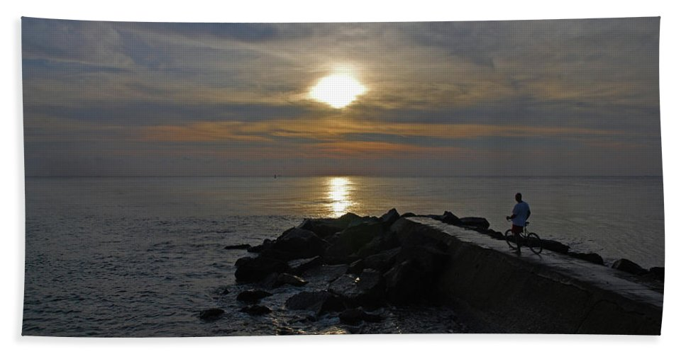 Jetty Man Bicycle Sunrise Bath Sheet featuring the photograph 13- The Witness by Joseph Keane