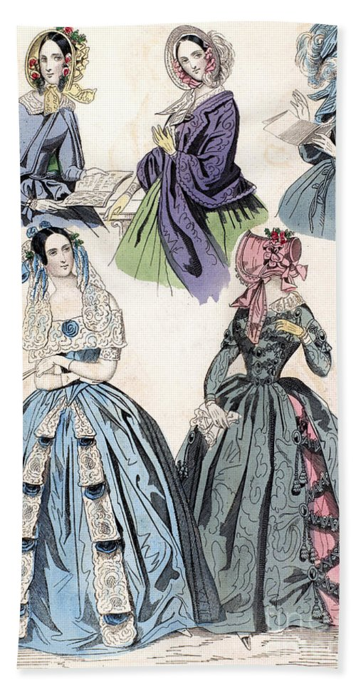 1842 Hand Towel featuring the photograph Womens Fashion, 1842 by Granger