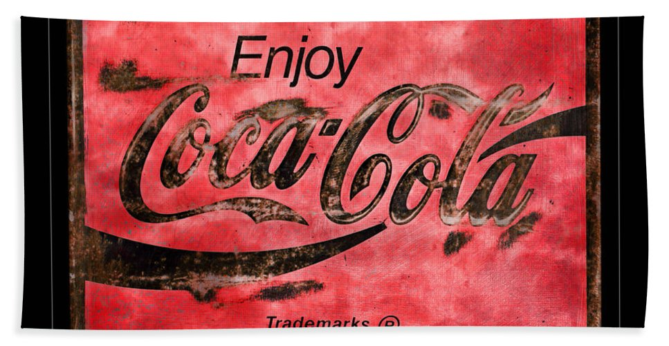 Coca Cola Hand Towel featuring the photograph Coca Cola Sign Grungy Retro Style by John Stephens