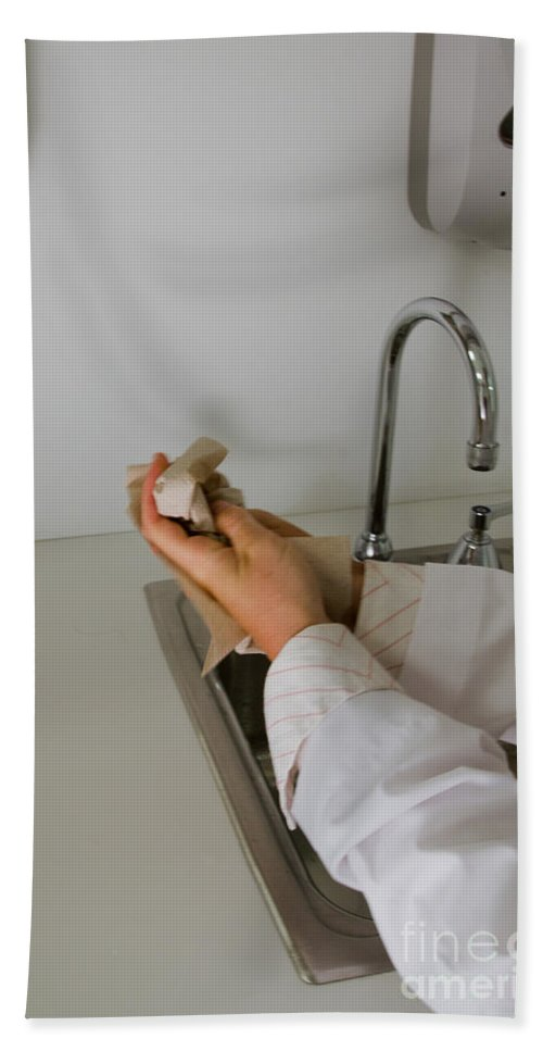 Clean Hand Towel featuring the Hand Washing by Photo Researchers, Inc.