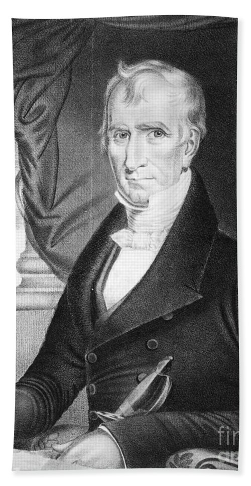 1841 Hand Towel featuring the photograph William Henry Harrison by Granger