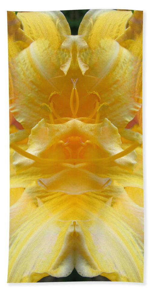 Color Blend Bath Sheet featuring the digital art Yellow Lily by Michele Caporaso