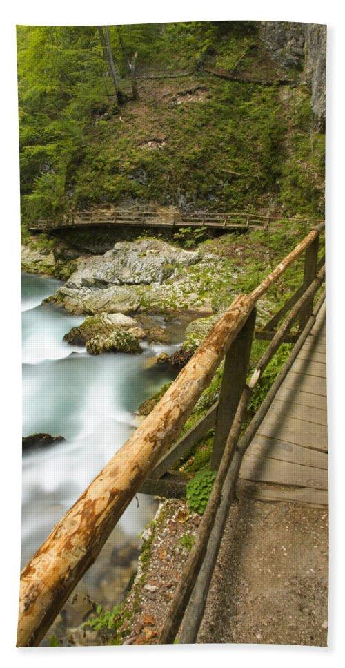 Soteska Bath Sheet featuring the photograph The Soteska Vintgar Gorge by Ian Middleton