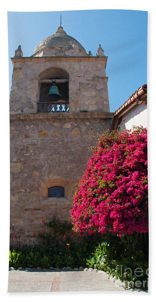 Landscape Bath Sheet featuring the digital art Gardens In Carmel Monastery by Carol Ailles
