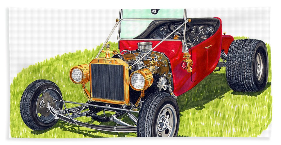 1923 Ford T Bucket Open Wheel Hot Rod Bath Sheet featuring the painting 1923 T Bucket by Jack Pumphrey