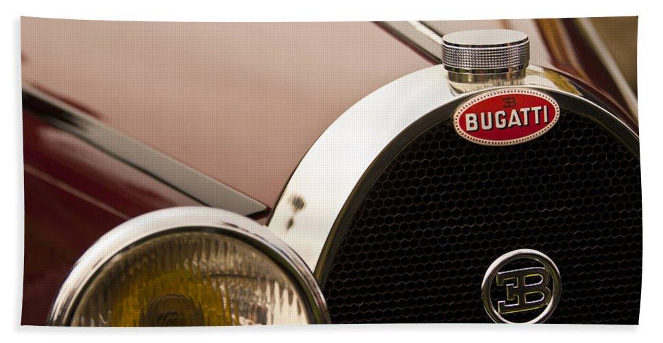 1931 Bugatti Type 55 Roadster Bath Sheet featuring the photograph 1931 Bugatti Type 55 Roadster Grille Emblem by Jill Reger