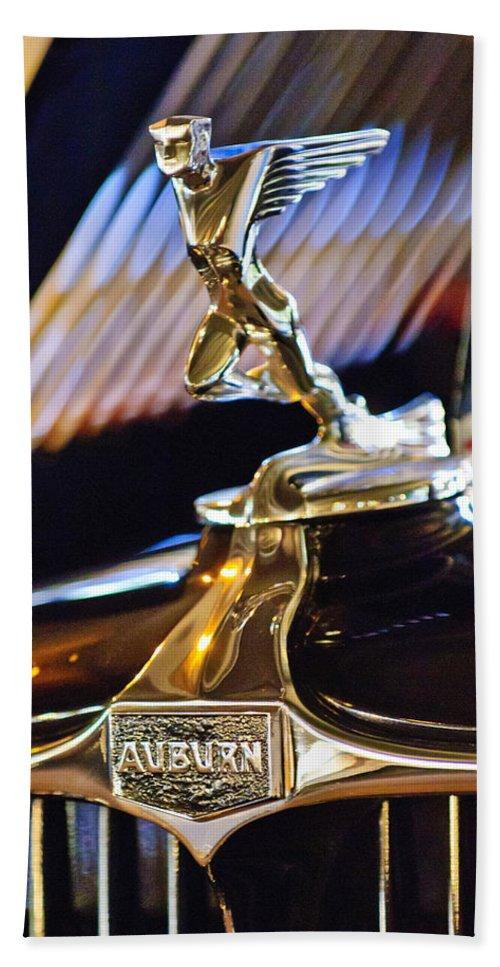 1932 Auburn V-12 Speedster Bath Sheet featuring the photograph 1932 Auburn V-12 Speedster Hood Ornament by Jill Reger