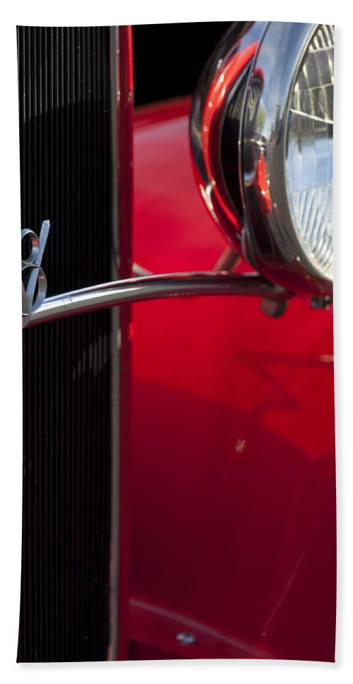 1932 Ford Roadster Bath Sheet featuring the photograph 1932 Ford Roadster Grille by Jill Reger