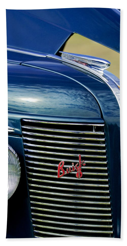 1937 Buick Hand Towel featuring the photograph 1937 Buick Hood Ornament by Jill Reger