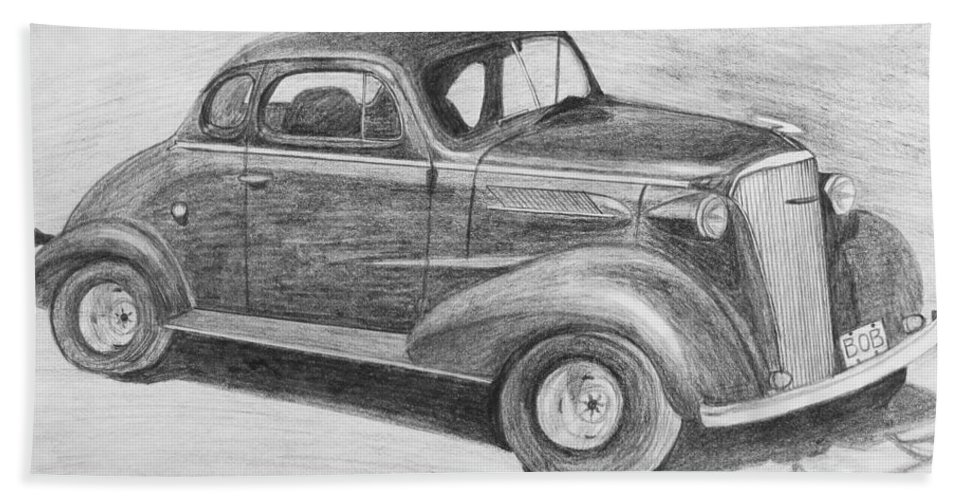 Car Bath Sheet featuring the drawing 1937 Chevy by Kume Bryant