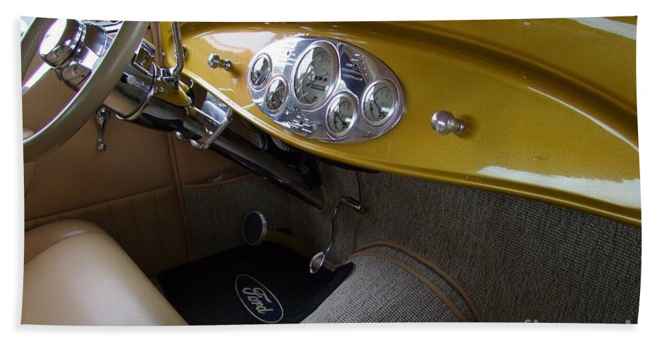 1938 Ford Roadster Hand Towel featuring the photograph 1938 Ford Roadster Dashboard by Mary Deal