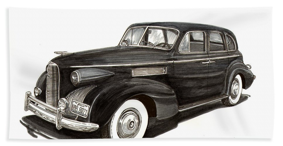 Thank You For Buying A 14.000 X 10.875 Print Of 1939 Lasalle Sedan Classic To A Buyer From Shoreham Hand Towel featuring the painting 1939 Lasalle Sedan Classic by Jack Pumphrey