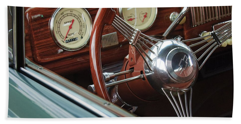 1940 Chevrolet Bath Sheet featuring the photograph 1940 Chevrolet Steering Wheel by Jill Reger