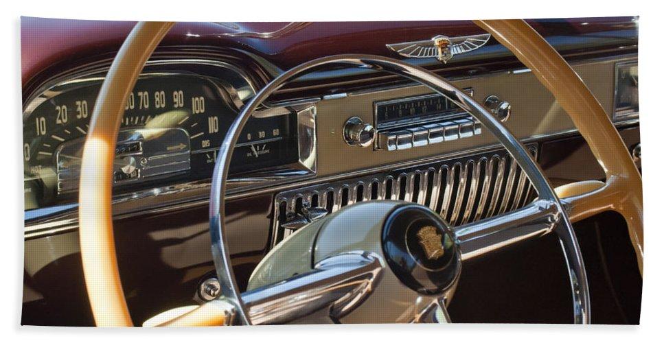 1949 Cadillac Sedanette Bath Sheet featuring the photograph 1949 Cadillac Sedanette Steering Wheel by Jill Reger
