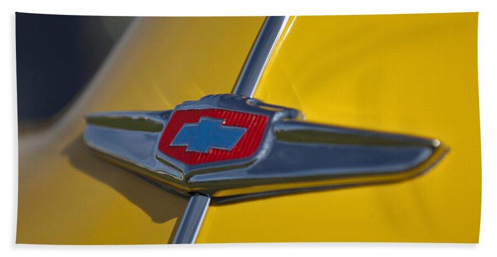 1949 Chevrolet Sedan Hand Towel featuring the photograph 1949 Chevrolet Sedan Hood Emblem by Jill Reger