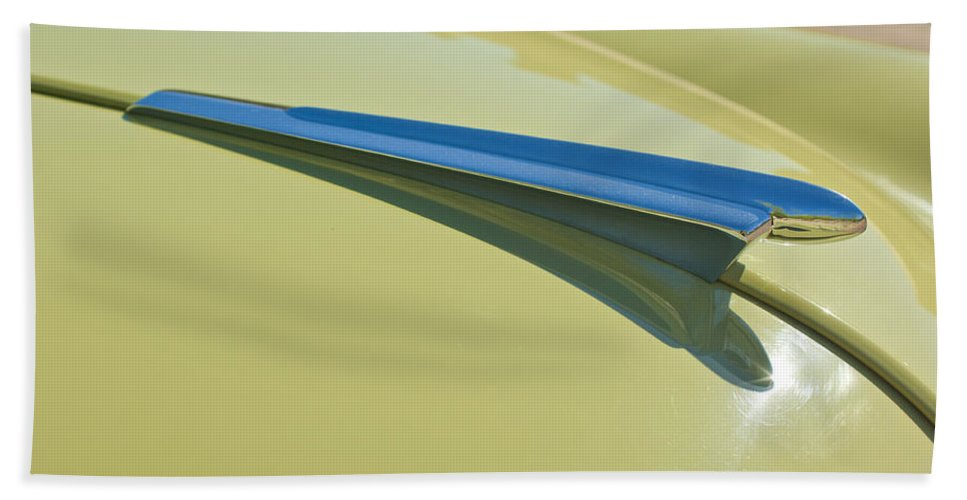 1950 Chevrolet Fleetline Bath Sheet featuring the photograph 1950 Chevrolet Fleetline Hood Ornament 2 by Jill Reger
