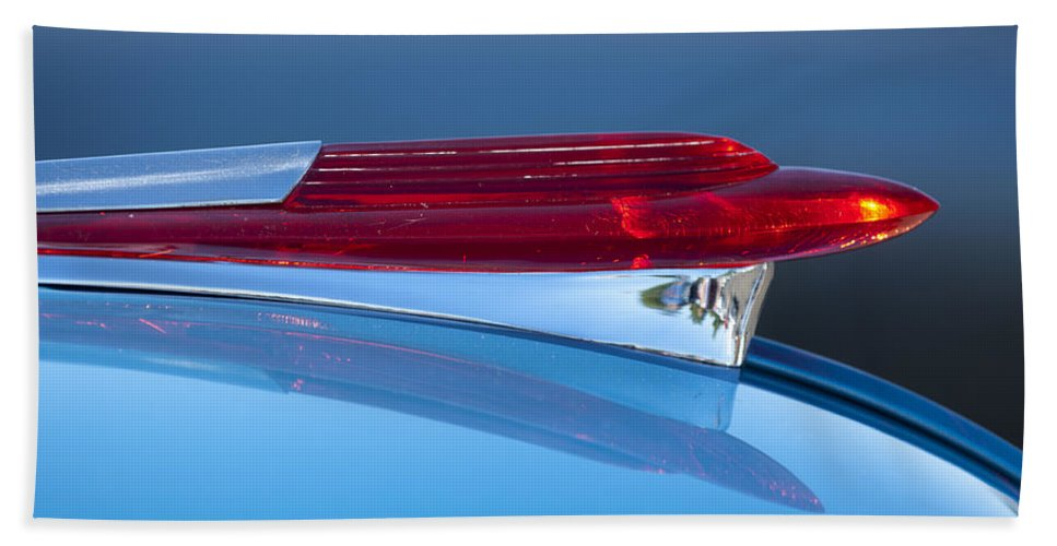 1950 Chevrolet Bath Sheet featuring the photograph 1950 Chevrolet Hood Ornament 5 by Jill Reger