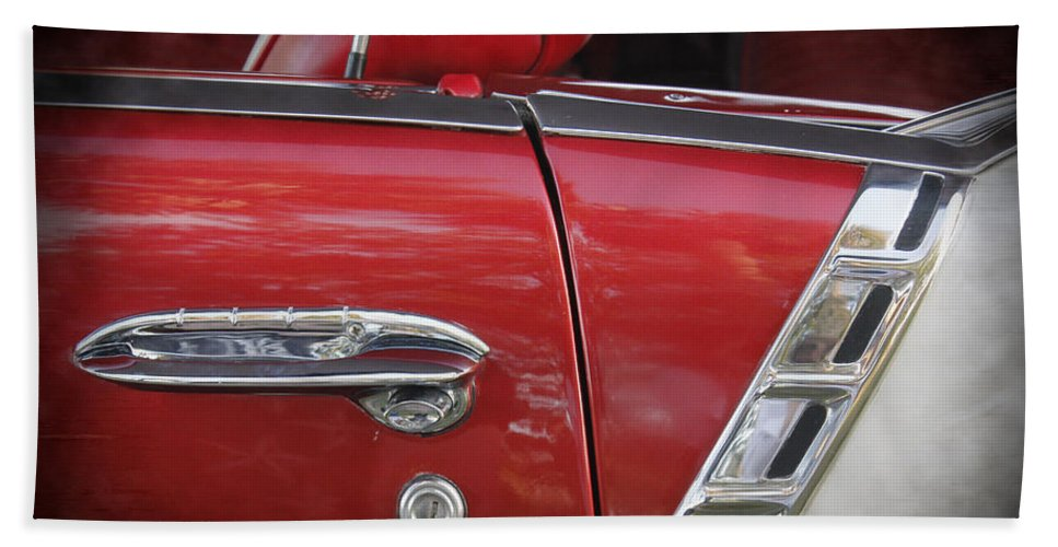 Grill Hand Towel featuring the photograph 1950s Chevrolet Belair Chevy Antique Vintage Car 3 by Robin Lewis
