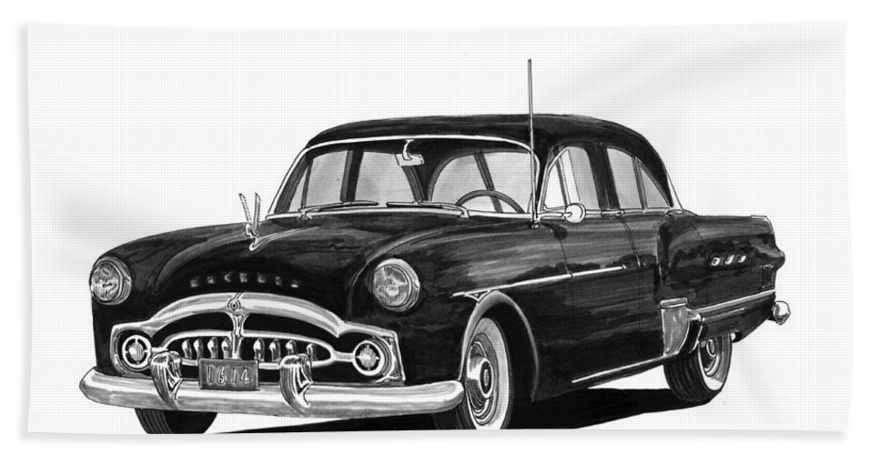 Framed Prints Of Pen And Ink Wash Paintings Of Cars From The 30s Hand Towel featuring the painting 1951 Packard Patrician 400 by Jack Pumphrey