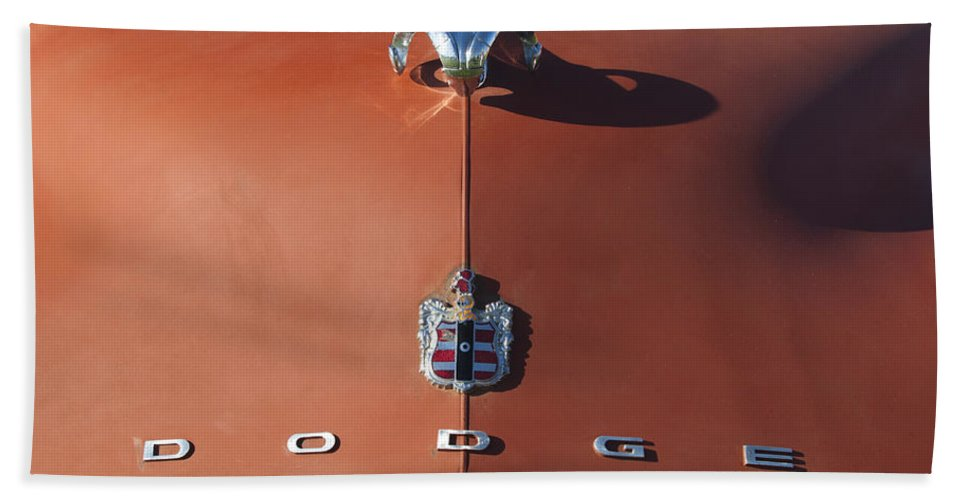 1952 Dodge Bath Sheet featuring the photograph 1952 Dodge Ram Hood Ornament 3 by Jill Reger