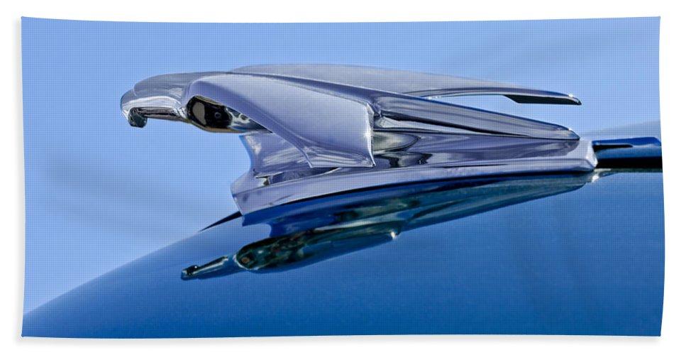 1953 Chevrolet 3100 Pickup Bath Sheet featuring the photograph 1953 Chevrolet 3100 Pickup Hood Ornament by Jill Reger