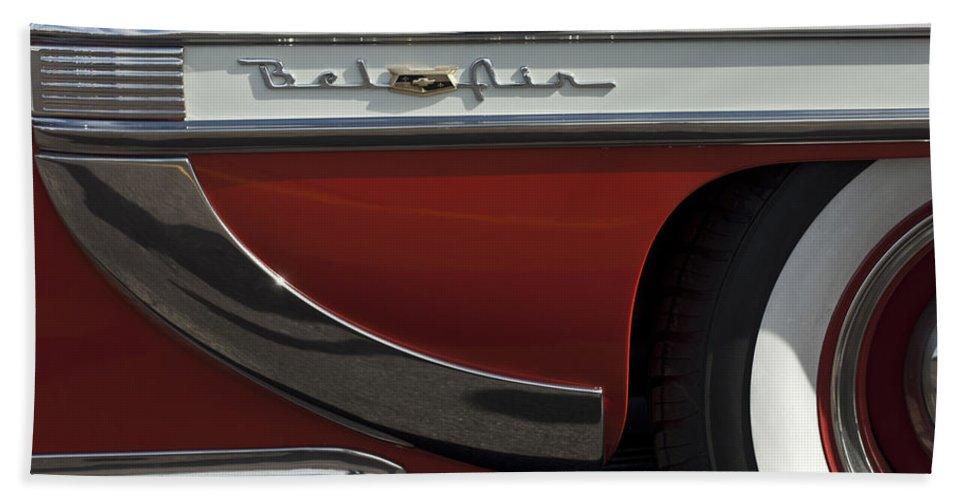 1953 Chevrolet Belair Bath Sheet featuring the photograph 1953 Chevrolet Belair Emblem by Jill Reger