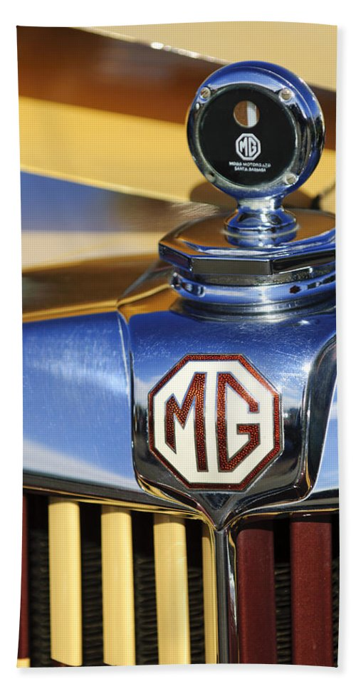 1953 Mg Td Bath Sheet featuring the photograph 1953 Mg Td Hood Ornament by Jill Reger