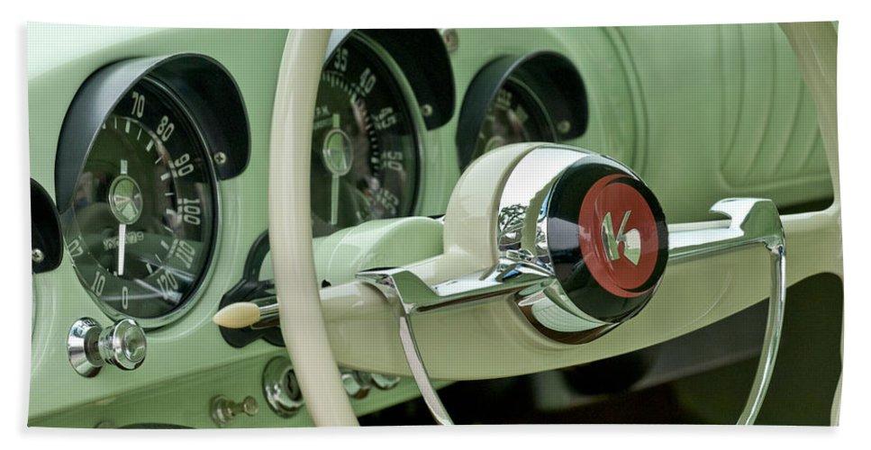 1954 Kaiser Darrin Bath Sheet featuring the photograph 1954 Kaiser Darrin Steering Wheel by Jill Reger