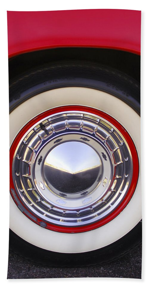 1955 Chevrolet Nomad Bath Sheet featuring the photograph 1955 Chevrolet Nomad Wheel by Jill Reger
