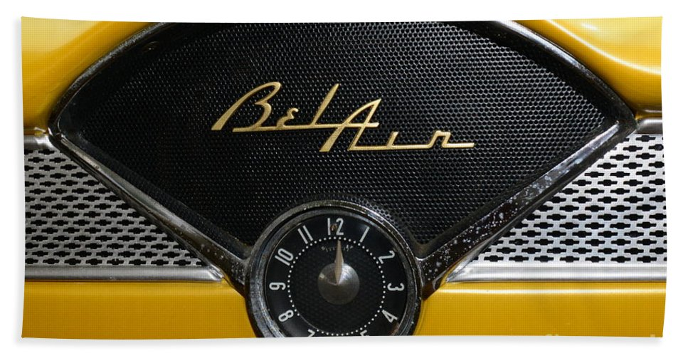 1955 Chevy Belair Clock Hand Towel featuring the photograph 1955 Chevy Belair Clockface by Paul Ward