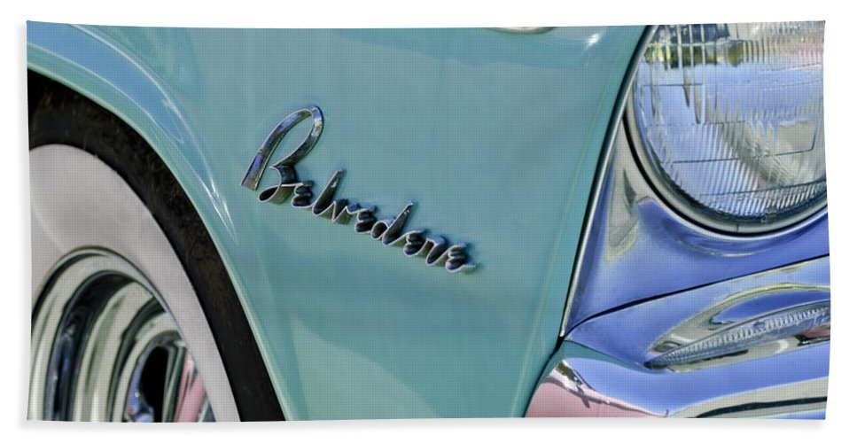 1955 Plymouth Belvedere Hand Towel featuring the photograph 1955 Plymouth Belvedere Emblem by Jill Reger
