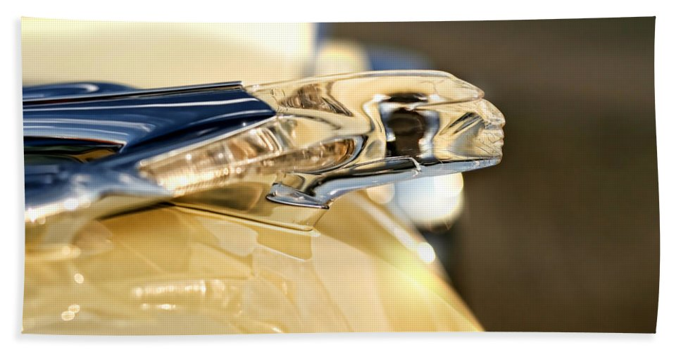 1955 Hand Towel featuring the photograph 1955 Pontiac Star Chief Hood Ornament by Gordon Dean II