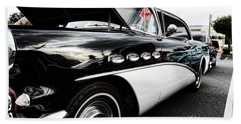 1956 Buick Century Hand Towel featuring the photograph 1956 Buick Century Profile 2 by Paul Ward