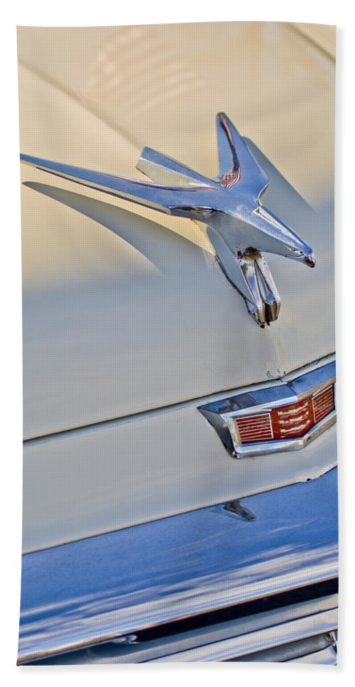 1956 Chrysler Windsor Town And Country Bath Sheet featuring the photograph 1956 Chrysler Windsor Town And Country Hood Ornament by Jill Reger
